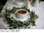 Купить «Чашечка горячего кофе в венке из оливковых листьев», фото № 509887, снято 15 сентября 2008 г. (c) Gagara / Фотобанк Лори