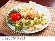 Купить «Запеченное мясо с картофелем и помидорами», фото № 510283, снято 22 августа 2019 г. (c) Александр Fanfo / Фотобанк Лори
