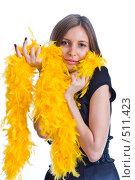 Купить «Портрет девушки с боа из желтых перьев», фото № 511423, снято 12 октября 2008 г. (c) Баевский Дмитрий / Фотобанк Лори