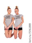 Купить «Девушки-близняшки занимаются физическими упражнениями», фото № 516899, снято 22 апреля 2019 г. (c) Losevsky Pavel / Фотобанк Лори