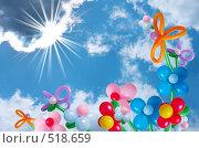 Купить «Воздушные шары на фоне неба», фото № 518659, снято 24 апреля 2008 г. (c) Майя Крученкова / Фотобанк Лори