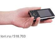 Купить «Мобильный телефон в руке», фото № 518703, снято 17 октября 2008 г. (c) pzAxe / Фотобанк Лори