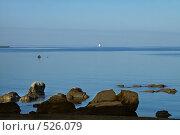 Купить «На рассвете: маяк, камни и море, Хорватия», фото № 526079, снято 9 сентября 2008 г. (c) Fro / Фотобанк Лори