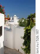 Традиционные греческие дома в Линдосе (Родос, Греция) (2008 год). Стоковое фото, фотограф Дмитрий Яковлев / Фотобанк Лори