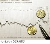 Монеты и ручка на финансовом графике. Стоковое фото, фотограф Вячеслав Зитев / Фотобанк Лори