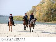 Купить «Донские казаки скачут верхом на конях», фото № 529111, снято 12 октября 2008 г. (c) Виктор Филиппович Погонцев / Фотобанк Лори