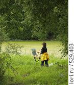 Художница, рисующая у пруда храм. Стоковое фото, фотограф Alexander Mirt / Фотобанк Лори