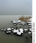 Купить «Камни под снегом на берегу», фото № 534443, снято 5 февраля 2007 г. (c) Роман Мельник / Фотобанк Лори