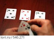 Купить «Размышление над ставкой», фото № 540271, снято 25 октября 2008 г. (c) Андрей Бурдюков / Фотобанк Лори