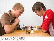 Купить «Игра в шахматы», фото № 545683, снято 1 ноября 2008 г. (c) Ирина Солошенко / Фотобанк Лори