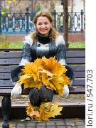 Купить «Девушка - осень», фото № 547703, снято 11 октября 2008 г. (c) Сергей Лаврентьев / Фотобанк Лори