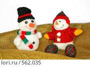 Купить «Новогодние снеговики на праздничной скатерти», фото № 562035, снято 15 ноября 2008 г. (c) Чернов Станислав / Фотобанк Лори
