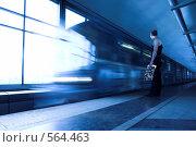 Купить «Поезд на станции метро Воробьевы горы,  Москва», фото № 564463, снято 28 мая 2008 г. (c) Бабенко Денис Юрьевич / Фотобанк Лори