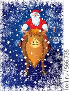Дед Мороз верхом на быке. Стоковая иллюстрация, иллюстратор Татьяна Петрова / Фотобанк Лори