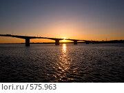 Кама. Мост над рекой Камой в Перми вечером (2008 год). Стоковое фото, фотограф Harry / Фотобанк Лори