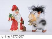 Дед Мороз и Бычок. Стоковое фото, фотограф Елена Элевтерова / Фотобанк Лори