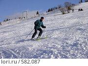 Купить «Карпаты. Спуск на горных лыжах», фото № 582087, снято 7 января 2004 г. (c) Gagara / Фотобанк Лори
