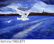 Чайки над водой. Стоковая иллюстрация, иллюстратор Ольга Долотина / Фотобанк Лори