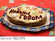 Купить «Домашний новогодний торт», фото № 582979, снято 1 января 2008 г. (c) Галина Ермолаева / Фотобанк Лори