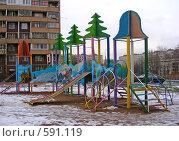 Купить «Детская площадка на Камчатской улице, район Гольяново, Москва», эксклюзивное фото № 591119, снято 28 ноября 2008 г. (c) lana1501 / Фотобанк Лори