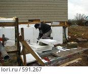 Строительный рабочий (2008 год). Редакционное фото, фотограф Алла Виноградова / Фотобанк Лори