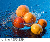 Купить «Фрукты и брызги воды», фото № 593239, снято 29 ноября 2008 г. (c) Ольга Кедрова / Фотобанк Лори