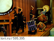 Купить «Японские барабанщики тайко», фото № 595395, снято 25 ноября 2008 г. (c) Алексей Еманов / Фотобанк Лори