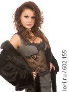Купить «Девушка в шубе и прозрачной блузке», фото № 602155, снято 29 ноября 2008 г. (c) Валентин Мосичев / Фотобанк Лори