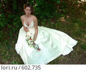 Купить «Красивая девушка в свадебном платье на фоне травы», фото № 602735, снято 7 июня 2006 г. (c) Татьяна Баранова / Фотобанк Лори