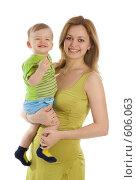 Купить «Счастливая мама с маленьким ребенком на руках», фото № 606063, снято 30 ноября 2008 г. (c) Вадим Пономаренко / Фотобанк Лори