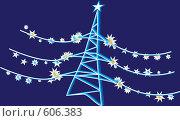 Купить «Новогодняя линия электропередачи», иллюстрация № 606383 (c) Мария Виноградова / Фотобанк Лори