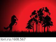 Лошадь, вставшая на дыбы, рядом с лесом. Стоковая иллюстрация, иллюстратор Александр Асланов / Фотобанк Лори