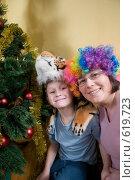 Купить «Ребенок с мамой в маске тигра у елки», фото № 619723, снято 14 декабря 2008 г. (c) Куликова Татьяна / Фотобанк Лори