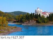 Река Катунь. Замок на острове. Стоковое фото, фотограф Юрий Бульший / Фотобанк Лори