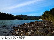 Горный Алтай. Река Катунь. Подвесной мост (2008 год). Стоковое фото, фотограф Юрий Бульший / Фотобанк Лори