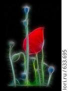 Купить «Красный мак на черном фоне», иллюстрация № 633695 (c) FotograFF / Фотобанк Лори
