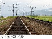 Купить «Железная дорога, идущая вдоль берега Байкала», эксклюзивное фото № 634439, снято 5 августа 2007 г. (c) Солодовникова Елена / Фотобанк Лори