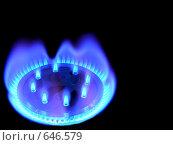 Купить «Горящий природный газ, на черном фоне», фото № 646579, снято 8 января 2009 г. (c) Алексей Романцов / Фотобанк Лори