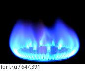 Купить «Горящий природный газ, на черном фоне», фото № 647391, снято 8 января 2009 г. (c) Алексей Романцов / Фотобанк Лори