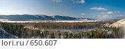 Купить «Панорама Жигулевских гор с Царева кургана», фото № 650607, снято 3 января 2009 г. (c) Игорь Момот / Фотобанк Лори