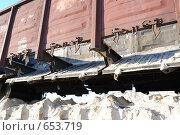 Купить «Полувагон с открытыми разгрузочными люками», фото № 653719, снято 11 ноября 2008 г. (c) Игорь Гришаев / Фотобанк Лори