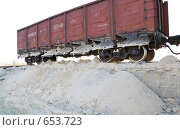 Купить «Полувагон с открытыми разгрузочными люками», фото № 653723, снято 11 ноября 2008 г. (c) Игорь Гришаев / Фотобанк Лори