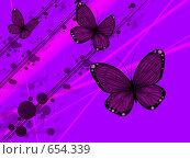 Купить «Три красивые фиолетовые бабочки на фиолетовом фоне», иллюстрация № 654339 (c) Лена Кичигина / Фотобанк Лори