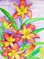 Жёлто-розовые лилии на лиловом фоне, акварель, иллюстрация № 657639 (c) ИВА Афонская / Фотобанк Лори