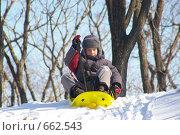 Купить «Мальчик катается на санках», фото № 662543, снято 17 января 2009 г. (c) Елена Климовская / Фотобанк Лори