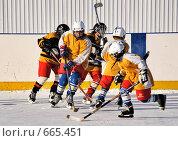 Купить «Хоккейный матч дворовых команд», фото № 665451, снято 18 января 2009 г. (c) Алексей Баринов / Фотобанк Лори
