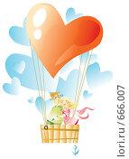Купить «Влюбленные на воздушном шаре», иллюстрация № 666007 (c) Елисеева Екатерина / Фотобанк Лори