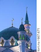 Купить «Минареты мечети Кул-Шариф в казанском кремле», фото № 667671, снято 18 января 2009 г. (c) Вадим Хомяков / Фотобанк Лори