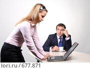 Купить «Коллеги: молодые бизнесмены в офисе», фото № 677871, снято 21 июля 2007 г. (c) Владимир Мельник / Фотобанк Лори