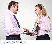Купить «Коллеги: молодые бизнесмены в офисе», фото № 677903, снято 21 июля 2007 г. (c) Владимир Мельник / Фотобанк Лори